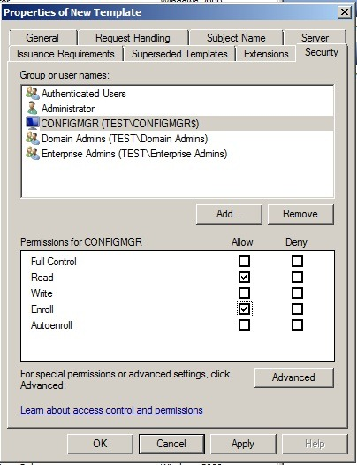Sccm 2012 and pki marius sandbu it blog select the enroll permission for this group or computer account and do not clear the read permission this gives the configmgr server right to enroll for yelopaper Image collections