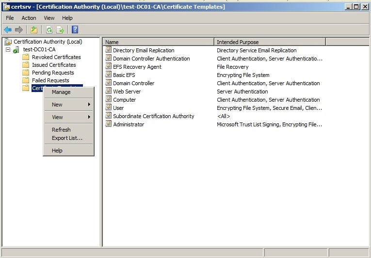 Sccm 2012 and pki marius sandbu it blog on the subordinate root ca open the certification authority console right click certificate templates and then click manage to load the certificate yadclub Images