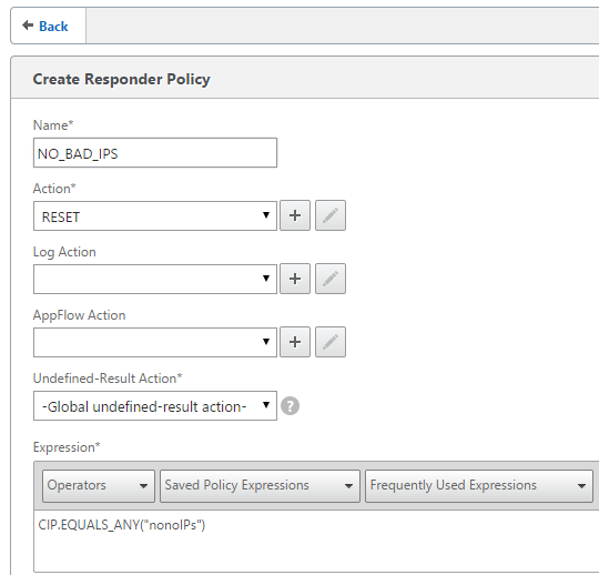 Using Netscaler to block IP adresses based upon pattern sets